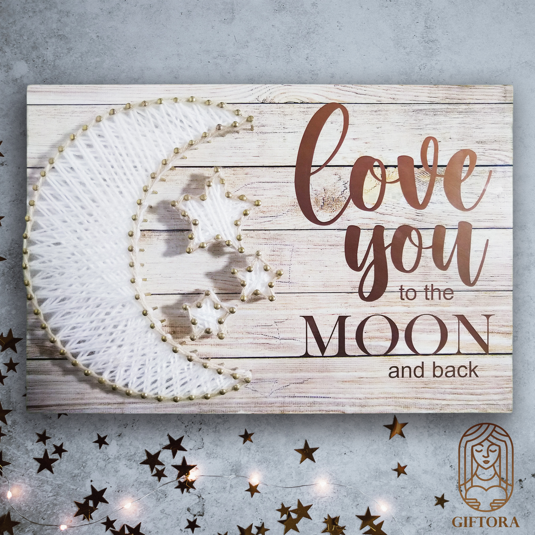 """""""Love you to the moon and back""""  Wall Hanging Panel"""